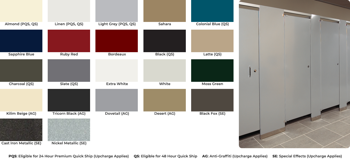 Powder coated steel color chart