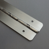 Photograph of toilet partition hardware.