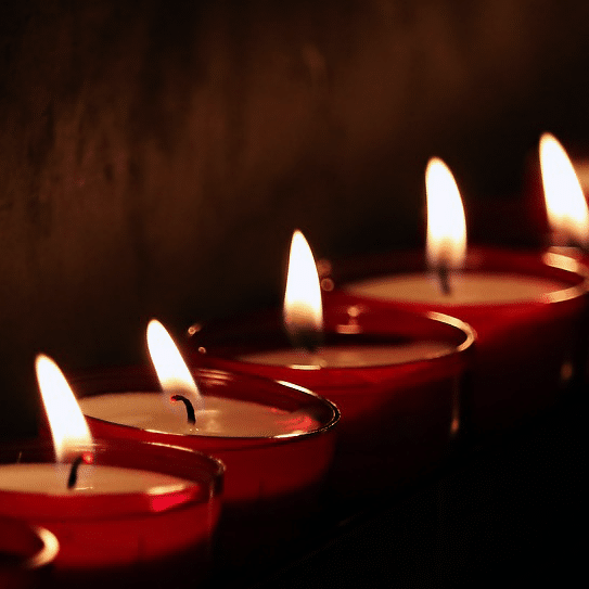 Candles used in religious worship