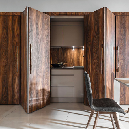 Enhance your space with striking, functional cabinetry using the Hawa Folding Concepta 25 system.