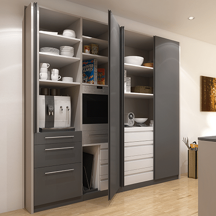 Rendered image showing the Hawa Concepta Pivot/Sliding Door Kit used to contain a kitchen pantry and cooking appliances.
