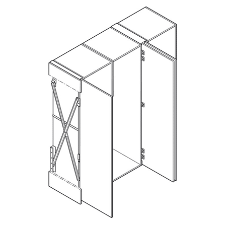 Line drawing showing the sturdy scissor mechanism that allows doors mounted on Concepta to slide away, out of sight.