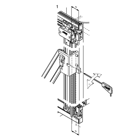 Illustration showing part of the carefully engineered Folding Concepta sliding mechanism.