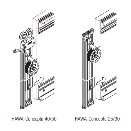 Illustration of Hawa Concepta part, showing the difference in design between the 40/50 and 25/30 kit.