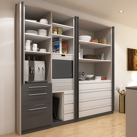 Rendering of an opened Concepta cabinet system. Doors are stored out of the way, reducing physical and visual clutter.
