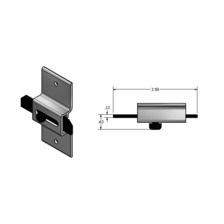 Dimensional drawing of Scranton Surface Slide Latch.