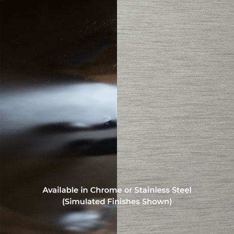Photograph of chrome and stainless steel finishes
