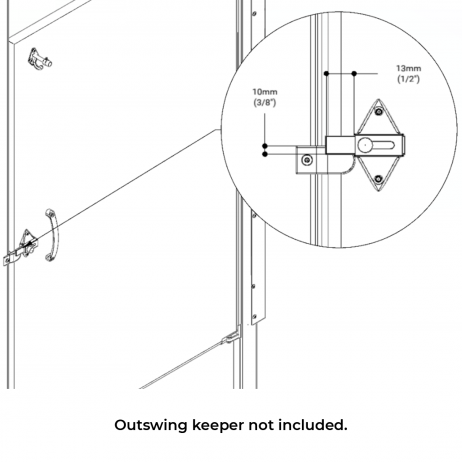 Line drawing of Hadrian surface slide latch installed.