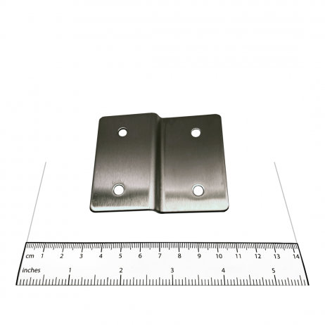 Photograph of the Bobrick Alcove Joggle Bracket Panel In-Line with Stile - 1000282 with ruler.