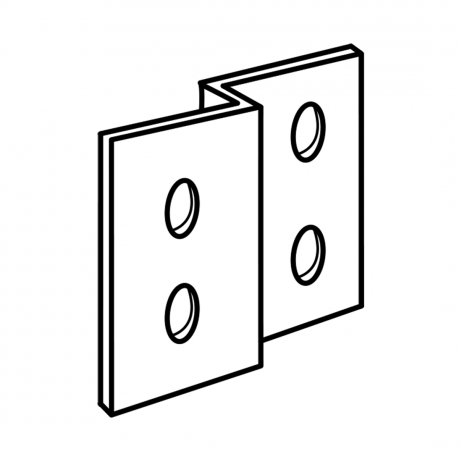 "Line drawing of Bobrick ""L""-bracketBobrick Alcove Joggle Bracket Panel In-Line with Stile – 1000282."