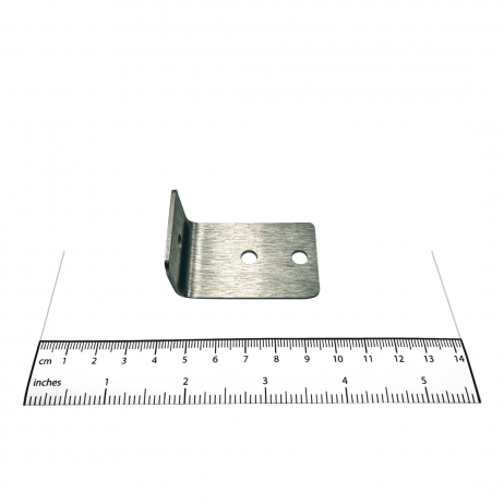 Photograph of the Bobrick L-Bracket External Panel-to-Stile - 1000351 with ruler.