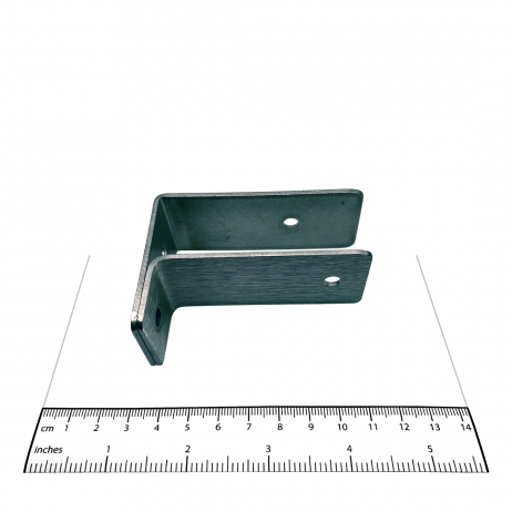 "Photograph of Bobrick F-Bracket Internal 1"" Panel-to-Wall - 1000353 shown with ruler."