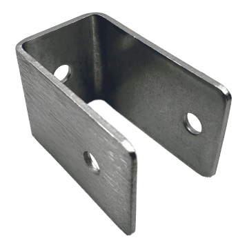 "Photograph of Bobrick U-Bracket Internal 1"" Panel-to-Stile - 1000356 sitting on its side."