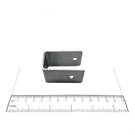 "Photograph of Bobrick U-Bracket Internal 1"" Panel-to-Stile - 1000356 with ruler."