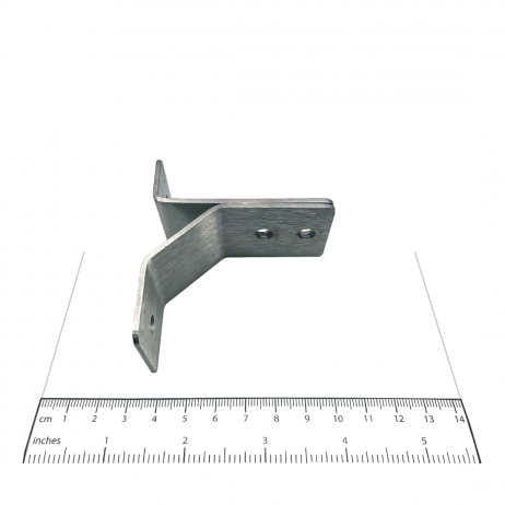 Photograph showing the Bobrick Y-Bracket, External - 1000974 with a ruler for scale.