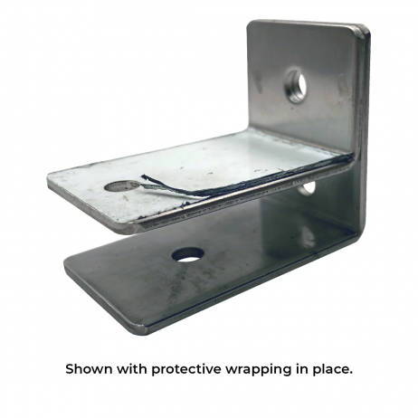 Photograph of Bobrick F-Bracket Internal Panel-to-Wall - 1000975 with protective wrapping in-place.