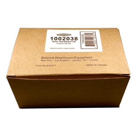 Packaging of Bobrick In-Swing Door Hardware Kit – 1002038.