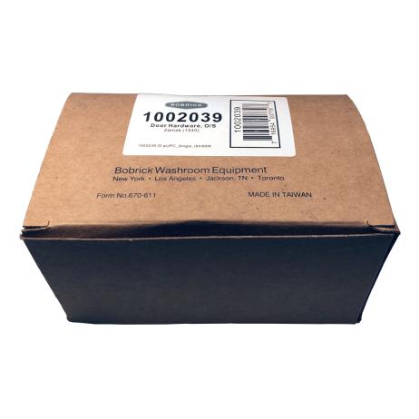 Packaging of Bobrick Out-Swing Door Hardware Kit – 1002039.