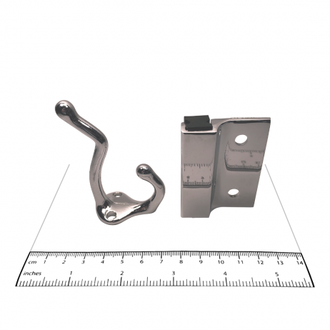 Photograph of hook and keeper from Bobrick Out-Swing Door Hardware Kit – 1002039, with ruler.
