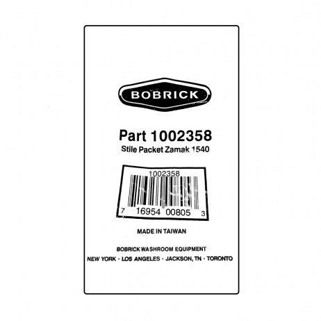 Scanned image of label on Bobrick Stile Bracket Packet (Stile-to-Wall) - 1002358 package.