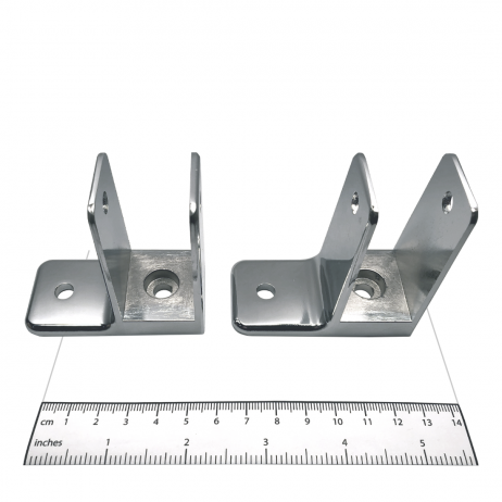 Photograph of brackets from Bobrick Stile Bracket Packet (Stile-to-Wall) - 1002358.