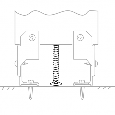 Line drawing showing the Bobrick Leveling Bolt for Stile Bottom - 1002422 in use.