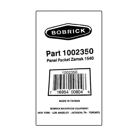 Scanned image of label on Bobrick Panel Bracket Packet - 1002350 package.