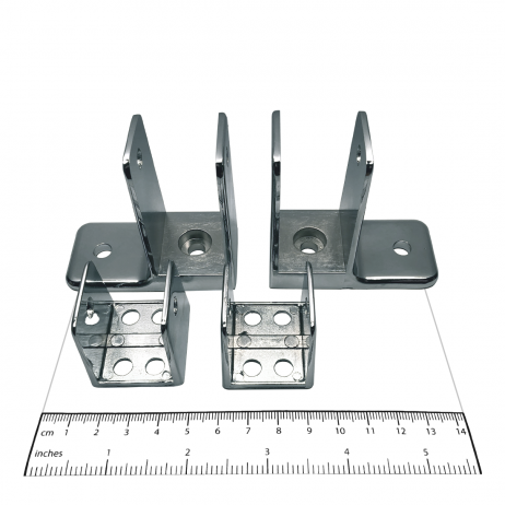 Photograph of brackets from Bobrick Panel Bracket Packet - 1002350.