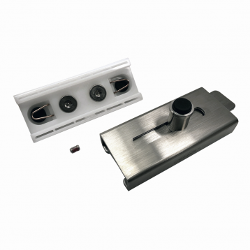 Photograph showing components of Bobrick Surface Latch Packet - 1040-42.