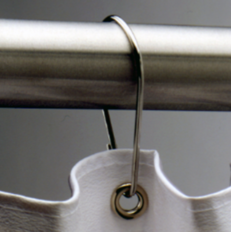 Photograph showing a detail view of the Bobrick Shower Curtain Hook Set 204-1.