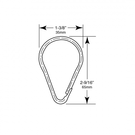 Line drawing showing the dimensions of a hook included in the Bobrick Shower Curtain Hook Set 204-1.