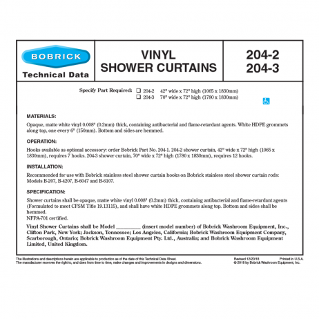 Graphic showing specifications of Bobrick Vinyl Shower Curtain 204-2.