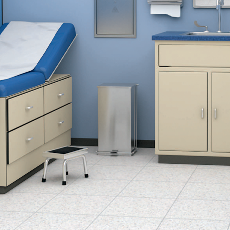 Rendering of the Bobrick Foot-Operated Waste Receptacle B-220816 in an exam room.