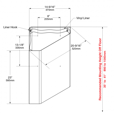 Line drawing of Bobrick Surface-Mounted Corner Waste Receptacle B-268.