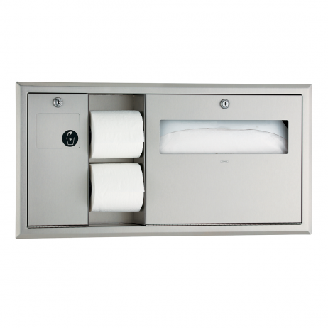Photograph of the Bobrick Recessed Toilet Tissue, Seat Cover Dispenser and Waste Disposal B-3091.