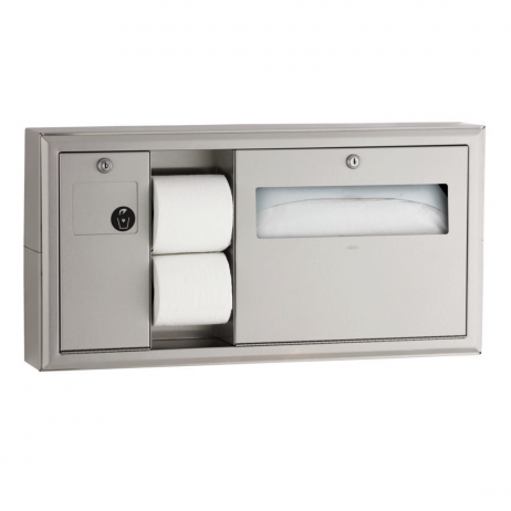 Photograph of the Bobrick Surface-Mount Toilet Tissue, Seat Cover Dispenser and Waste Disposal B-30919.