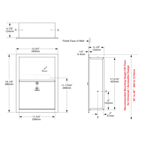 Line drawing of the Bobrick Recessed Sharp Disposal B-35016.