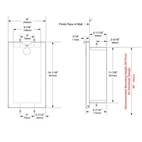 Line drawing of the Bobrick Recessed Sanitary Napkin Disposal B-3513.