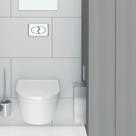 Rendering of the Bobrick Surface-Mounted Sanitary Napkin Disposal B-35139.