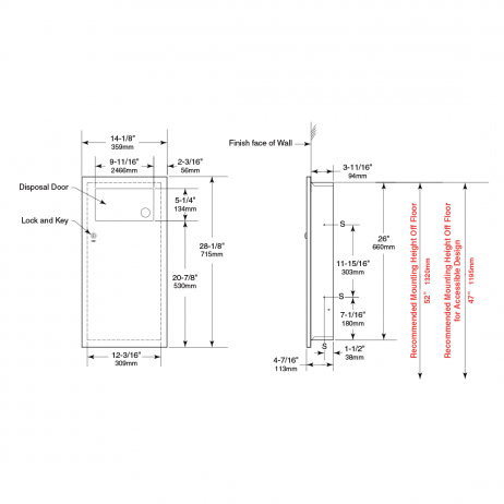 Line drawing of Bobrick Recessed Waste Receptacle with Disposal Door B-35633, multiple views.