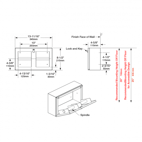 Line drawing showing dimensions of Bobrick Surface-Mounted Multi-Roll Toilet Tissue Dispenser B-3588.