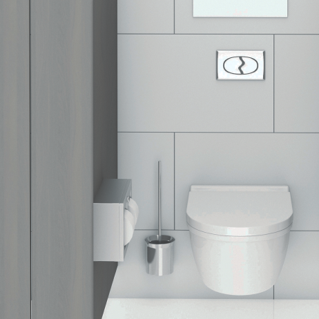 Photographic rendering of the Bobrick Surface-Mounted Multi-Roll Toilet Tissue Dispenser B-3588 installed.