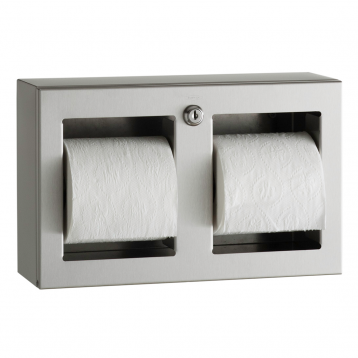 Photograph showing front view of Bobrick Surface-Mounted Multi-Roll Toilet Tissue Dispenser B-3588.