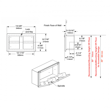 Line drawing of the Bobrick Recessed Multi-Roll Toilet Tissue Dispenser B-35883.