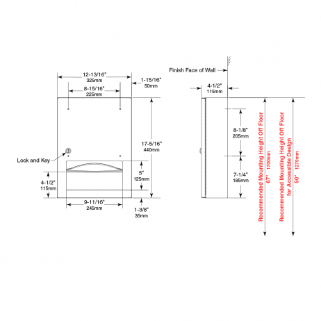Line drawing of Bobrick TrimLineSeries Surface-Mounted Paper Towel Dispenser B-359039.