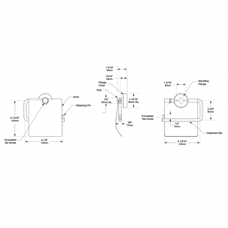 Line drawing of the Bobrick Cubicle Collection Toilet Tissue Dispenser with Hood B-546.