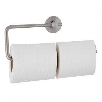Photograph of the Bobrick Cubicle Collection Double Toilet Tissue Dispenser B-547, with paper.