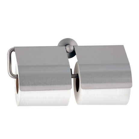 Photograph of the Bobrick Cubicle Collection Double Toilet Tissue Dispenser with Hoods B-548.