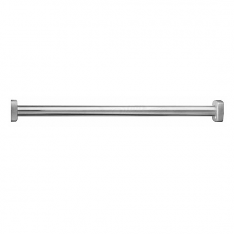 Photograph of Bobrick Extra-Heavy-Duty Shower Curtain Rod B-6047 showing rod and flanges.