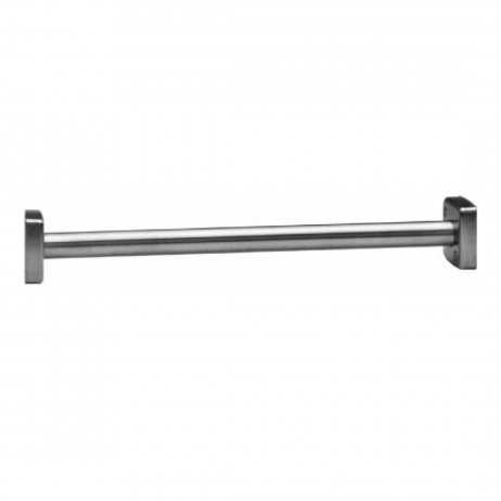 Photograph of Bobrick Heavy-Duty Shower Curtain Rod B-6107 showing rod and flanges.